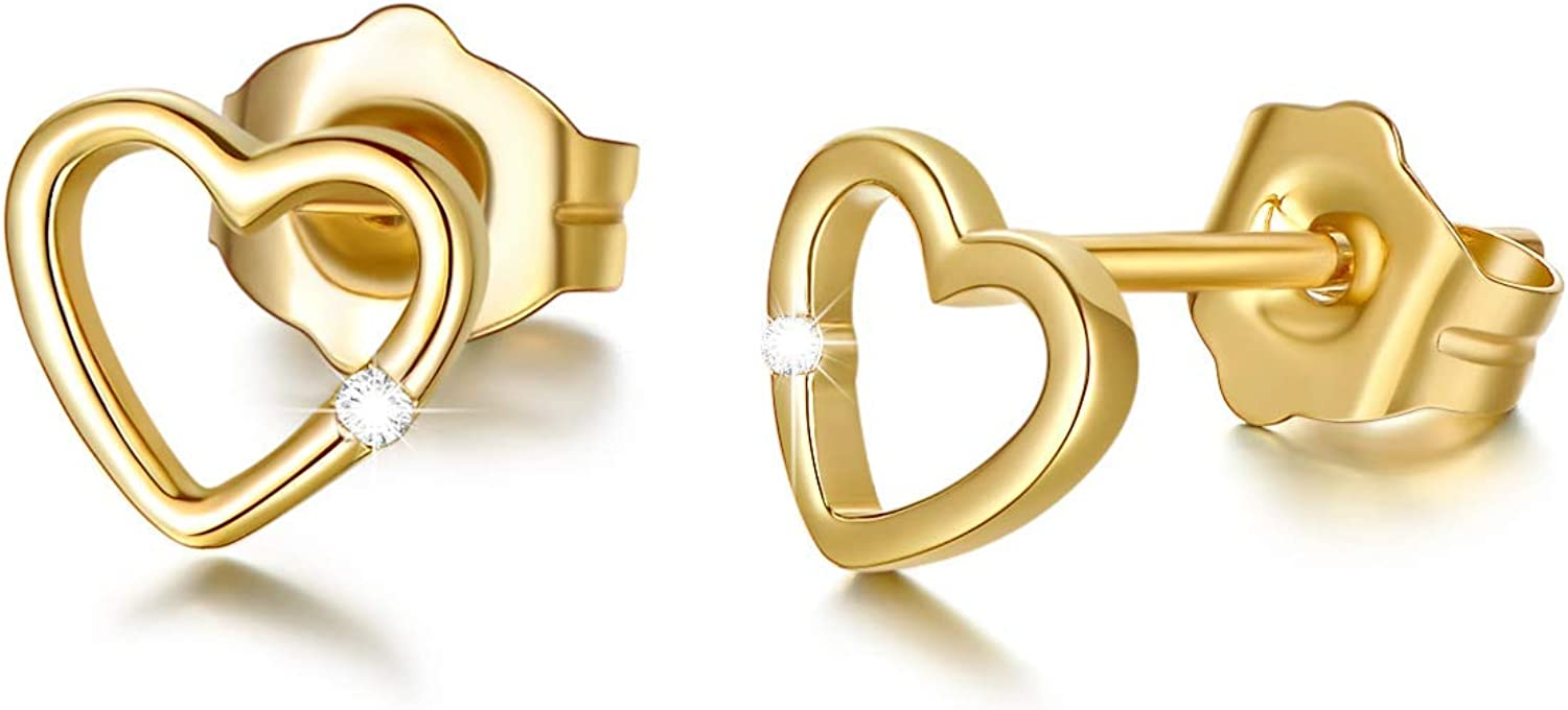 14K Solid Gold Heart Stud Clearance SALE! Limited time! Earrings Natural Ranking TOP2 Diam for Round Women