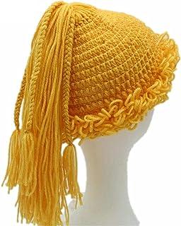 9502ab21208 BIBITIME Handmade Woven Braids Knit Hat Curly Hair Wigs Beanie Caps for  Women