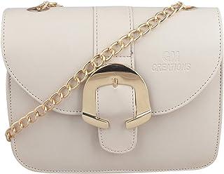 GM CREATIONS™ Latest Fashion Trendy Branded Leatherette Crossbody Shoulder Sling bag Side Handbag With Non Detachable Gold...