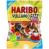 """6 Pack of Haribo Vulcano Fizz (6 x 175g) Imported from Germany Each bag contains volcano shaped candies in lemon, blood orange, and kiwi flavors, that are filled with apple flavored """"lava"""", and coated with a foam sugar base."""