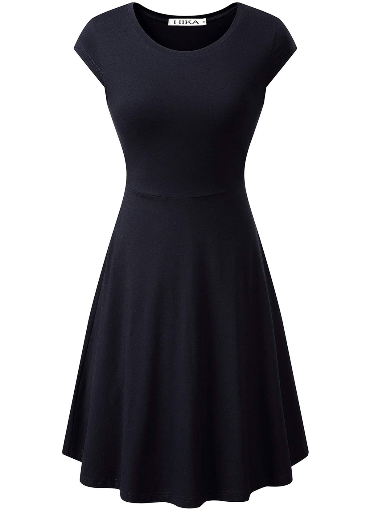Available at Amazon: HIKA Women's Casual Elegant A Line Short Cap Sleeve Round Neck Dress