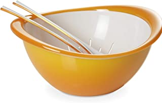 Omada Design bowl salad and colander cutlery (3 Pieces), 10,24 inch diameter, colorful, ergonomic and innovative design, w...