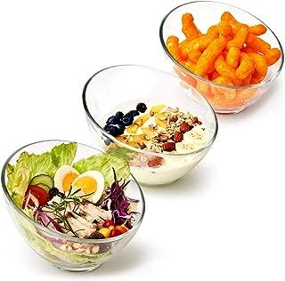 EZOWare Clear Glass Salad Bowl Set, 25 oz Slant Cut Angled Stackable Bowls - Great for Serving Salad, Cereal, Pasta, Snacks, Desserts - Set of 3