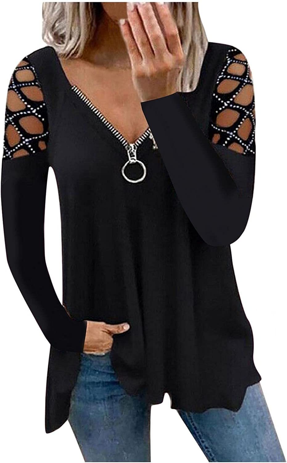 lucyouth Cold Shoulder Tops for Women Sexy Casual Loose V Neck Blouses Graphic 1/4 Zipper Long Sleeve Tunic Tops