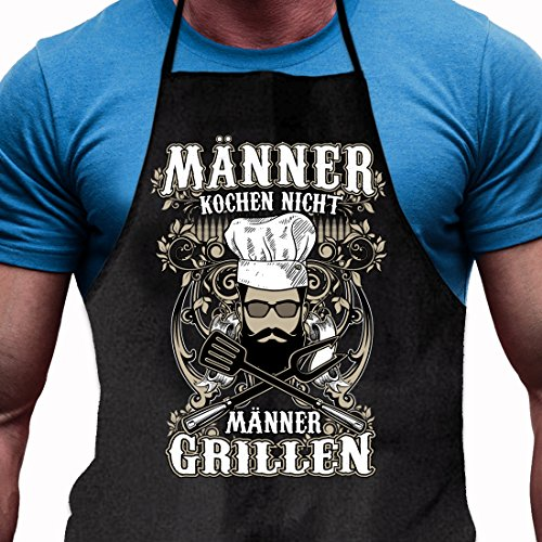 Shirtoo Grillschürze Männer Kochen Nicht – Männer Grillen – Lustiges Geschenk für echte Männer und Grill-Fans