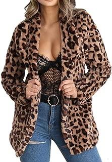 DUBUK Women Leopard Faux Fur Coat Long Sleeve Sexy Lapel Overcoat Winter Warm Parka Jacket