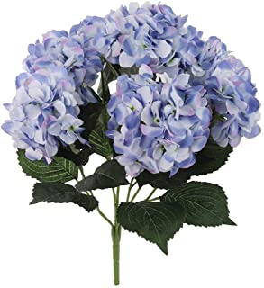 Larksilk Hydrangea Silk Flower Bush, Seven Heads Per Bush, UV Resistant, Indoor & Outdoor Silk Plant, Adjustable Stem, Ric...