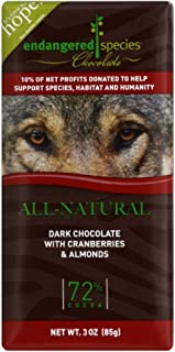 Endangered Species Chocolate Dark Cranberry Almonds Wolf, 3-ounces (Pack of 6)