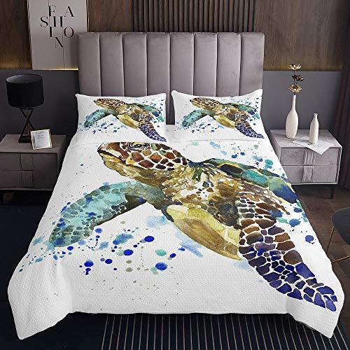 Schildkröte Mittelmeer Tagesdecke 220x240cm Schildkröten-Reptil Steppdecke für Kinder Jungen Mädchen Weißes blaues Meer Weichste Bettwäsche Set Tagesdecke Bettbezug 3St