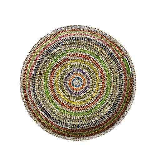 EA Déco Naturel & Design ABFMUL Plateau Tchèkè, Plastique, Multicolore, 40 x 40 x 7 cm
