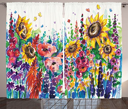 """Ambesonne Floral Curtains, Floral Watercolor Style Wildflowers in Country Lansdcape Colorful Flowers Art Print, Living Room Bedroom Window Drapes 2 Panel Set, 108"""" X 84"""", Dark Indigo"""