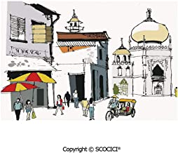 SCOCICI Washable,Non-Fading,Non-Stain,Wipe Clean,Dries Quickly Place mat Hand Drawn Illustration of Old Singapore Traditional Building People Umbrellas Travel Prefect for Use in Holiday, Home Parties