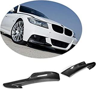 MCARCAR KIT Front Bumper Splitter fits BMW 3 Series E90 M Sport LCI 2009-2012 Factory Outlet 325i 328i 330i 335i M-Tech Auto Carbon Fiber CF Upper Spoiler Winglets Vents Cover Cupwings Flaps