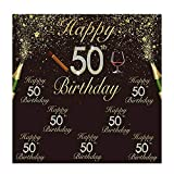 Allenjoy 6x6ft Glitter Gold and Black Happy 50th Birthday Backdrop Step and Repeat Golden Shiny Fifty Years Old Photography Backgound for Adult Birthday Party Supplies Decoration Photobooth Props