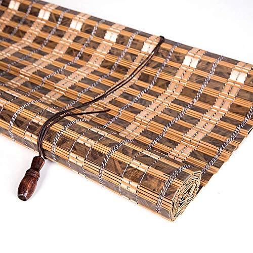 LY88 Persianas enrollables de bambú con Gancho, Parasol Enrollable de partición Opaca para salón de té, balcón, Cocina, 80/100/120/130/140 cm de Ancho (tamaño: 80 y Veces; 180 cm)