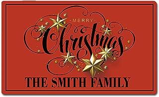 Artsbaba Custom Family Name Personalized Doormat Merry Christmas Door Mat Rubber Non-Slip Entrance Rug Floor Mat Funny Home Decor Indoor Mat 30 x 18 Inches, 3/16