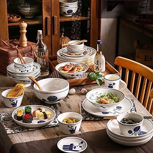 CCAN De vajilla de cerámica, 31 Piezas de vajilla de Porcelana de Estilo japonés con combinación |Juegos de Platos de Carne y tazones de Cereales para Restaurante Interesting Life