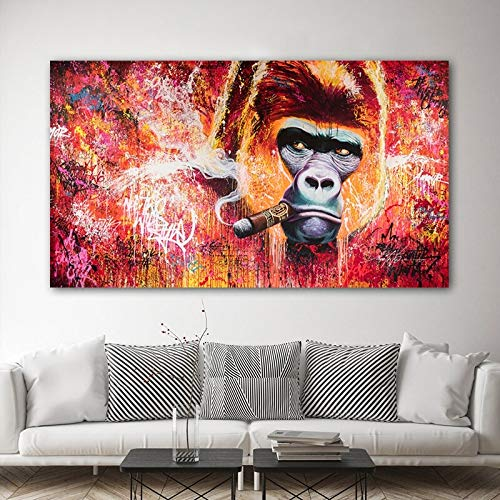 wZUN Mono Gorila Animal Graffiti Arte Abstracto Lienzo Pintura Carteles e Impresiones Sala de Estar Arte Decorativo de Pared 60X90 Sin Marco