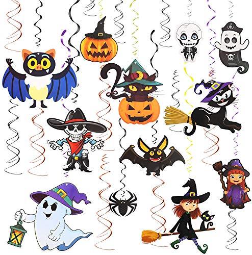TAZEMAT Halloween Colgante Espiral 12 pcs Decoración Espiral de Dibujos Animados con 12 pcs Remolinos Negros y Anaranjados Escena Diseño Calabaza Cráneo Fantasma Suministro para Fiesta Colgar en Techo