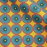 Stoff Baumwolle Meterware Petrol gelb rot Batik Kreise