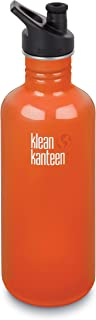 Klean Kanteen Classic Stainless Steel Bottle with Sport Cap, Flame Orange - 40 ounces