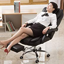 Ergonomic Office Recliner Chair, High-Back Leather Desk Gaming Chair with Lumbar Support, Thick Seat Cushion Adjustable Seat Height with Footrest (Shipped from US) (Black)