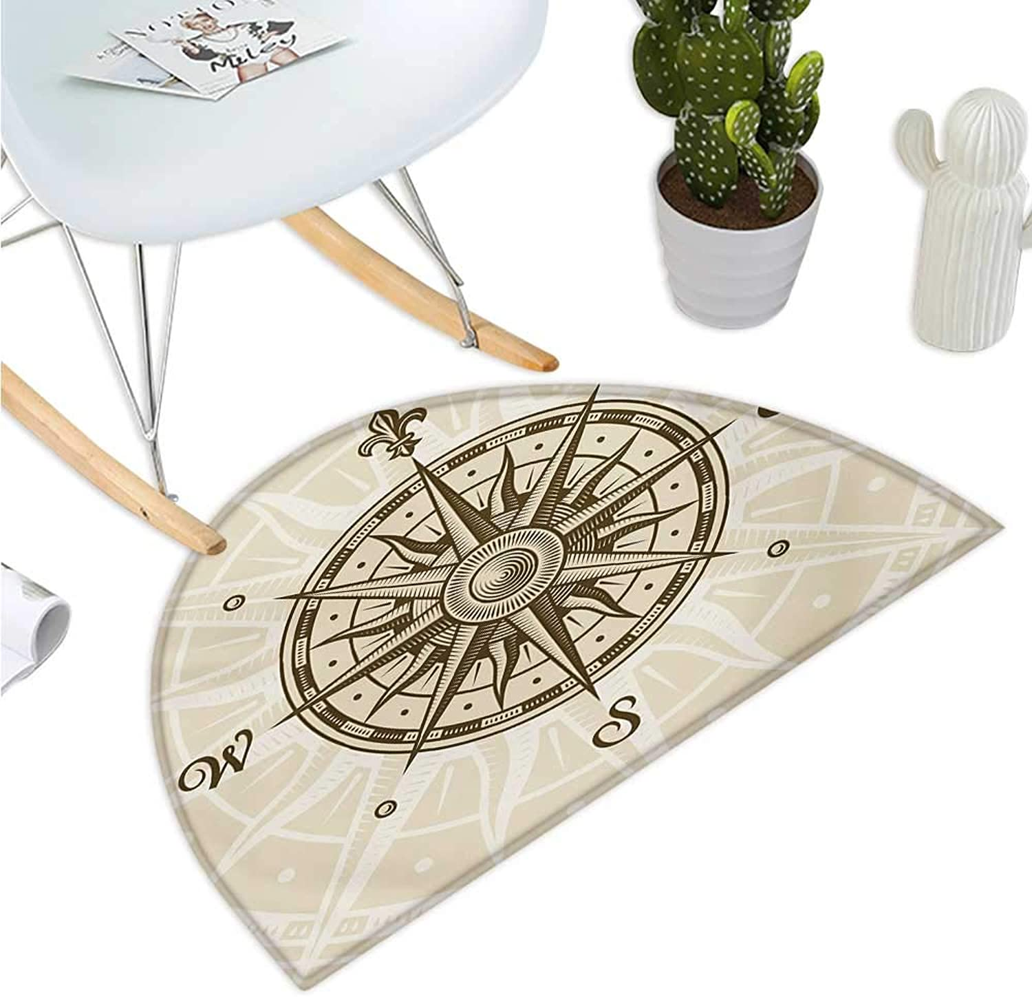 Compass Semicircular Cushion Sun Motif Backdrop with Windpink Directions East West North South Navigation Halfmoon doormats H 43.3  xD 64.9  Olive Green Beige