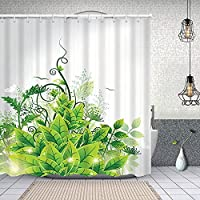 シャワーカーテン美しい自然 防水 目隠し 速乾 高級 ポリエステル生地 遮像 浴室 バスカーテン お風呂カーテン 間仕切りリング付のシャワーカーテン 180 x 180cm