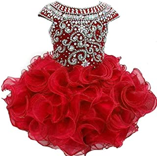 Baby Girls' Beaded Ruffles Cupcakes Birthday Party Pageant Dresses