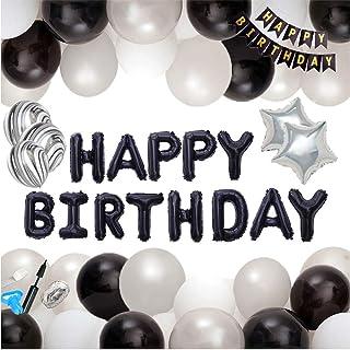 Macaron(マカロン)誕生日 飾り付け 特大 バースデー 瑪瑙バルーン ブラックアルミ バルーン 装飾セット ハンドポンプ 両面テープ付き