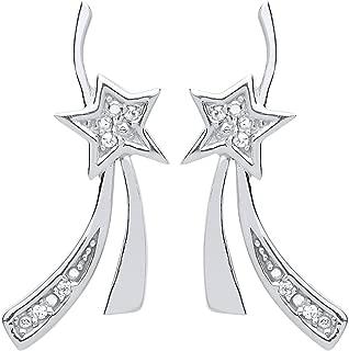 Ohrstecker Sternschnuppe echt Sterling Silber 925 Zirkonia Damen Ohrringe