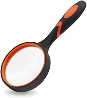 ذره بین MJIYA ، ذره بین خواندنی دستی 8X برای کودکان و سالمندان ، لنزهای شیشه ای با کیفیت بدون خراش ، طراحی ضد ضربه ، پارچه تمیز کننده میکروفایبر شامل (75 میلی متر ، نارنجی)
