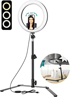 """ELEGIANT 10"""" Selfie Ring Light with Tripod Stand & Cell Phone Holder for Live Stream/Makeup, LED Ring Light with 3 Light Modes for YouTube TikTok Photography Video Compatible with iPhone Android"""