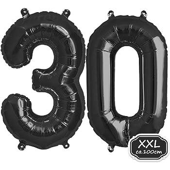XXL 100cm Riesen Helium Zahl 3 Folienballon Schwarz Geburtstag Hochzeit Party