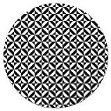 Panorama Alfombra Vinílica Redonda Geometría Negro 190x190 cm - Alfombra Cocina Vinilo - Alfombra Salón Antideslizante, Antihongos e Ignífuga - Alfombras Grandes - Alfombras PVC