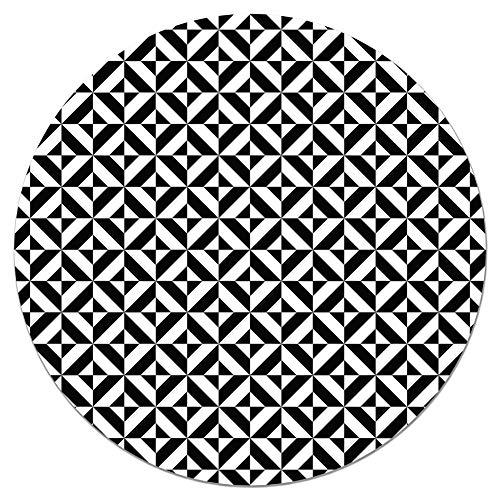Panorama Tapis du Sol Vinyle Ronde Géométrie Noir 190x190 cm - Tapis de Cuisine en PVC Linoléum Vinyle - Antidérapant Lavable Ignifuge - Tapis pour Cuisine Bureau Salon - Protection du Sol
