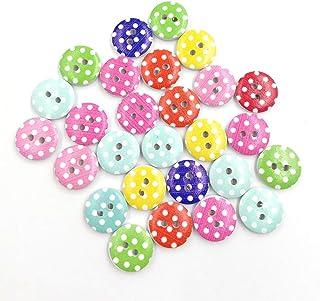 AchidistviQ - 90 Botones de Madera con Forma de Lunares, 2 Agujeros, para Costura, decoración de álbumes de Recortes, Madera, Random Color