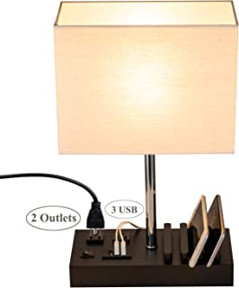 Briever USB Table Lamp, Multi-Functional Bedside Desk Lamp with 2 AC Outlets, 3 USB Charging Ports and Wooden Phone Stand Organizer, Ideal Nightstand Lamp for Bedroom, Guest Room, Office