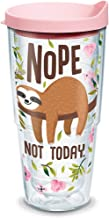 Tervis 1303153 Sloth Nope Not Today Insulated Tumbler with Wrap and Pink Lid, 24 oz, Clear