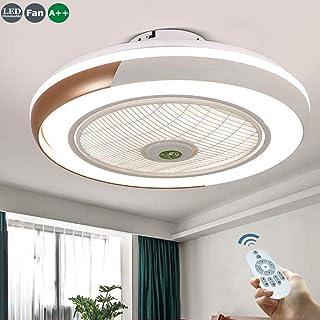 Ventilador De Techo 60W LED Lámpara Creative Regulable Invisible Lámpara Luz De Techo Del Ventilador De Bajo Ruido Adecuado Para Sala De Estar Dormitorio Habitación Infantil Iluminación,Oro
