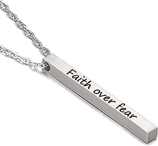 AMIST Christian Jewelry Religious Necklace for Girls Faith Necklace - Faith Over Fear