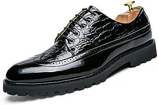 Men's Business Oxford Casual Personality Prosperous Raincoat Crocodile Skin Patent Leather Brogue Shoes casual shoes (Color : Black, Size : 41 EU)