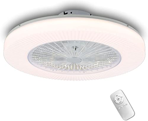 lowest YYEHON Modern Ceiling Fan with Lights, Low Profile Semi Flush Mount Fandelier with Remote Control, 3 Speed Quiet Fan high quality with Invisible ABS Blades sale and 3-Color LED Lights, 22 Inch, White outlet online sale