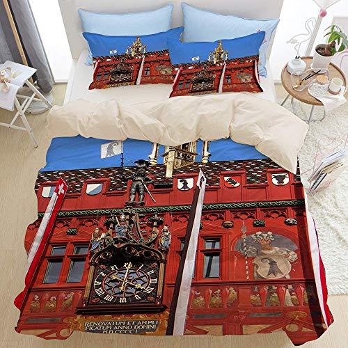 812 Housse de Couette Beige 3 pièces,Hôtel de Ville de Bâle Suisse Maison Or Rouge,de Conception imprimée en Microfibre Douce 140 * 200cm