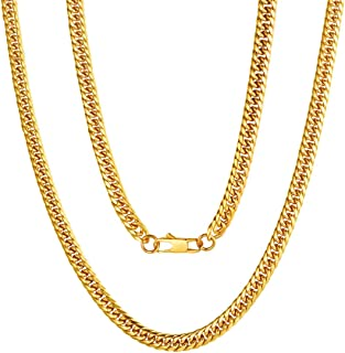 "ChainsPro Thick Cuban Link Chain Necklace, 3.5MM/6MM/9MM/12MM Width, 18"" 20"" 22"" 24"" 26"" 28"" 30"", 316L Stainless Steel/18K..."