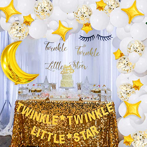 Twinkle Twinkle Little Star Party Garland Kit Gold Moon and Star Balloon for Girls Birthday,Gender Reveal, Baby Shower Party Decorations