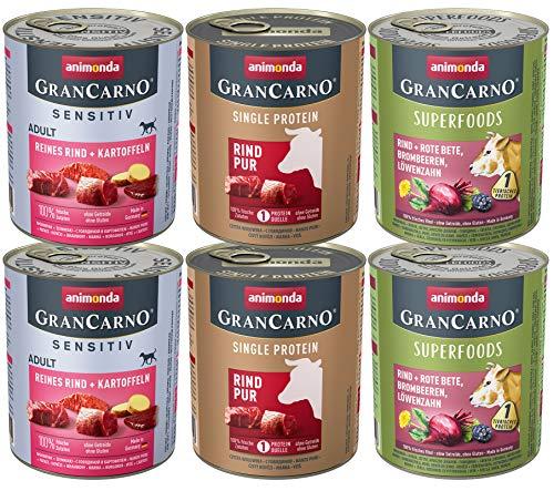 animonda GranCarno Adult Monoprotein Hundefutter, Nassfutter für ausgewachsene Hunde, Monoproteinmix Rind, 6 x 800 g