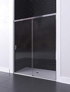 y Perfil Aluminio Cromado ANCHO 110 medida adaptable 104 a 110cm Corredera con Cristal Decorado de Seguridad Mampara de Ducha Modelo DAKOTA Frontal Hoja Fija 6mm