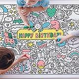 Ausmaltischdecke Kinder-Geburtstag XXL   Happy Birthday Kinder-Beschäftigung Geburtstagsfeier   Papier-Tischdecke A0 Bunt Ausmalen   Mädchen & Jungen   Geschenkidee Kinderparty Geburtstagsspiel