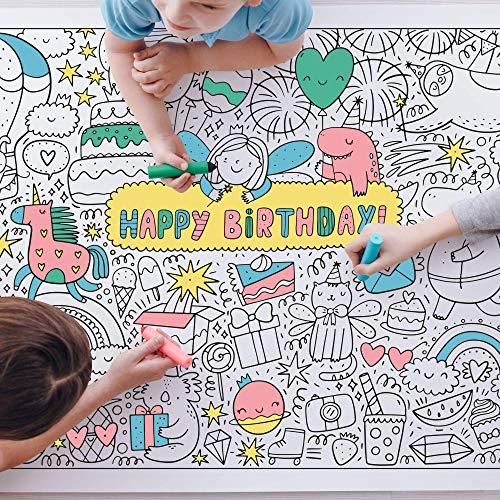 Ausmaltischdecke Kinder-Geburtstag XXL | Happy Birthday Kinder-Beschäftigung Geburtstagsfeier | Papier-Tischdecke A0 Bunt Ausmalen | Mädchen & Jungen | Geschenkidee Kinderparty Geburtstagsspiel